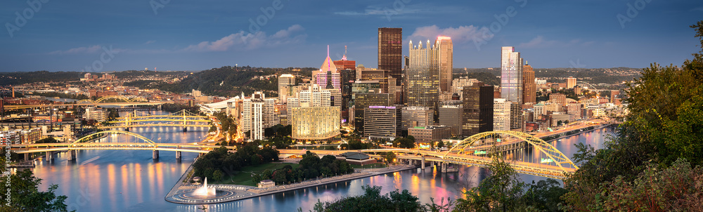 Fototapeta Pittsburgh skyline by night