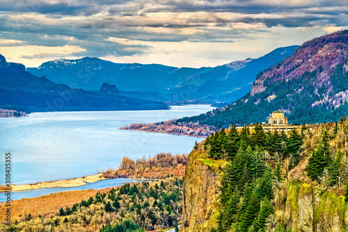 Fototapeta View of Vista House at Crown Point above the Columbia River in Oregon obraz