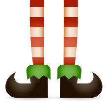 Christmas Elf Legs Santa Claus Helper New Year Holiday 3d Cartoon Design Vector Illustration