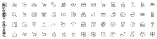 Photo SHOPPING vs E-COMMERCE line thin icons set