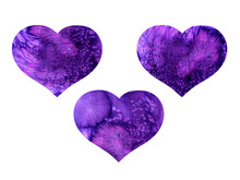 Watercolor Hand Painted Violet Hearts. Water Color Drops, Wet Stains