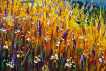 Beautiful Autumn Field Of Flowers Glade - Fragment Of Oil Painting - Floral Landscape