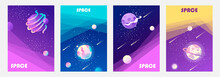 Cosmos, Universe And Sky. Milky Way. Set Of Colorful Templates For Tickets, Flyers, Banners, Posters, Covers. Cartoon Children's Design. Vector