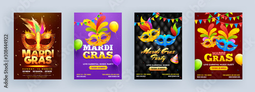 Obraz na plátne Different Color Mardi Gras Party Flyer Design with Carnival Mask, Party Hat and Balloons