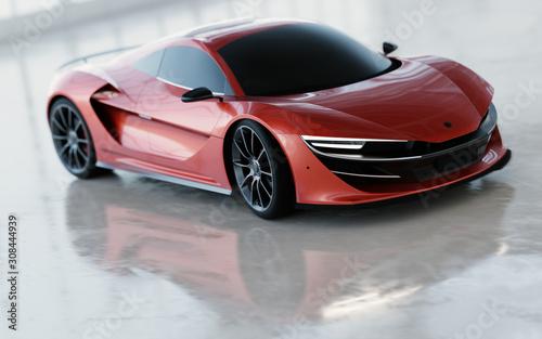 Fototapeta New fast supercar. Sports car in warehouse. obraz