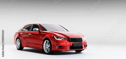 Obraz na plátně New car, sedan type in modern style. 3D illustration