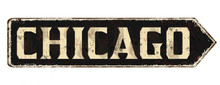 Chicago Vintage Rusty Metal Sign