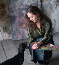Artist Woman Painter With Dach...
