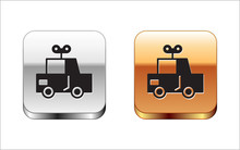 Black Toy Car Icon Isolated On White Background. Silver-gold Square Button. Vector Illustration