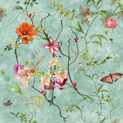 Panel Szklany Egzotyczne Watercolor painting of leaf and flowers, seamless pattern background