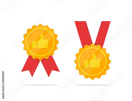 Fotografie, Obraz Set of golden medal with thumb up icon in a flat design