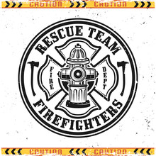 Firefighters Vector Round Emblem With Fire Hydrant