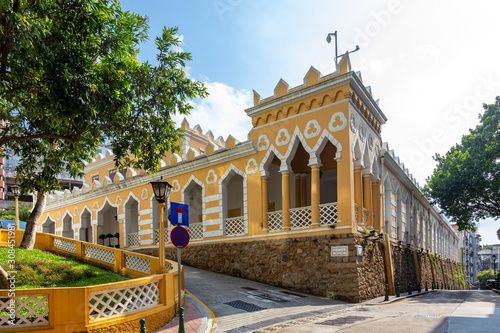 Fotografiet  Moorish Barracks is a historical barracks in Calcada Da Barra , Macau, China