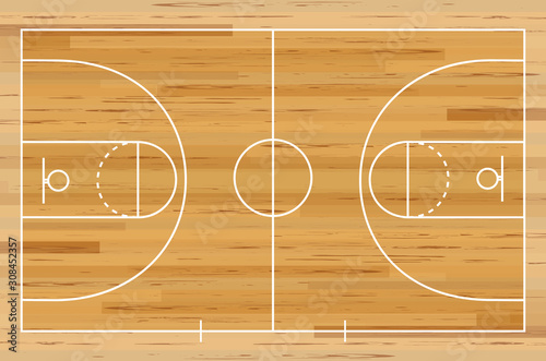 Obraz Basketball court floor with line on wood texture background. Vector illustration. - fototapety do salonu
