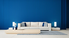 Classic Blue Wall Living Room ...