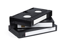Old Video Tape Cassette Isolated On White Background