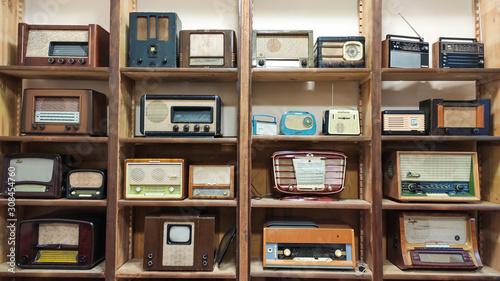 Photo Old Transistor Radios Vintage Compact Transistor Receivers Retro Technology