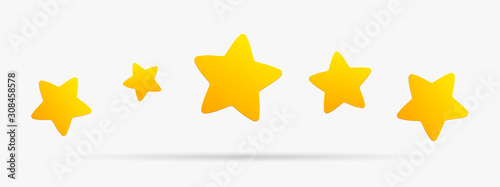 Cuadros en Lienzo Stars rating isolated on white background. Five stars rating.