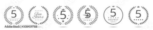 Fotografiet Five star badge set