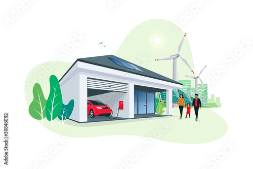 Electric car parking charging at smart house garage wall box charger station stand at family home Canvas Print