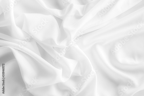 White fabric, cloth soft waves texture background. Tablou Canvas