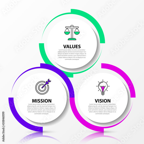 Obraz Infographic design template. Creative concept with 3 steps - fototapety do salonu