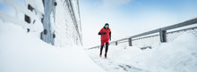 Sport, Winter. Male Athlete Ru...