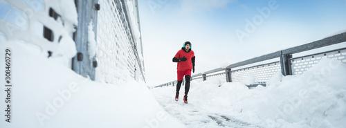 obraz PCV Sport, Winter. Male athlete running.
