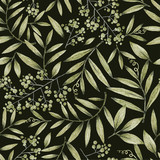 green leaves branches and flowers, freehand drawing in pencil , seamless pattern - 308461553