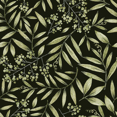 Fototapetagreen leaves branches and flowers, freehand drawing in pencil , seamless pattern
