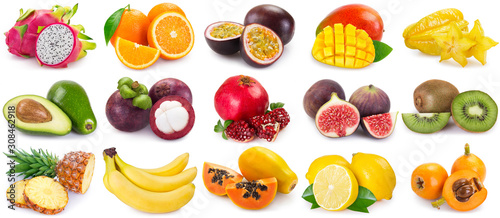 Valokuvatapetti Collection of fresh fruits on white background
