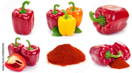 Fotografía Collection of fresh pepper on white background