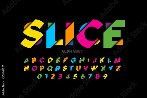 Fotomural  Modern vivid color sliced style font, colorful alphabet letters and numbers