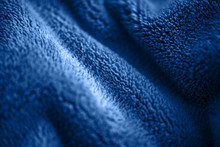 Blue Delicate Soft Background Of Fur Plush Smooth Fabric. Texture Of Fleecy Blanket Textile