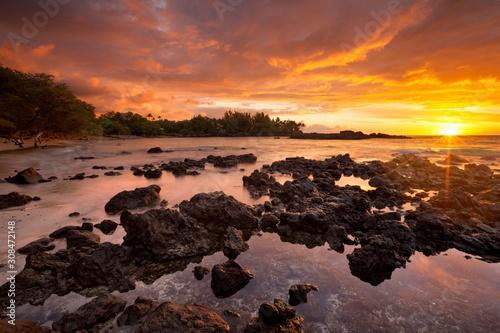 Printed kitchen splashbacks Coast Sunset at Waialea Beach or Beach 69, Big Island Hawaii, USA