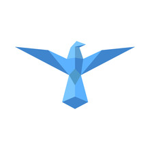Bird Logo Origami Styled. Origami Bird.