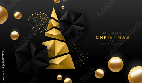 Obraz Merry Christmas gold low poly abstract pine tree - fototapety do salonu