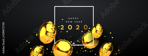 New Year 2020 gold 3d party balloon banner - 308473700