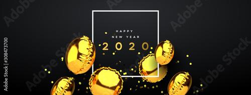 Foto auf AluDibond Lineale Wachstum New Year 2020 gold 3d party balloon banner