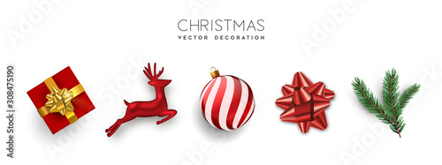 Red christmas set 3d holiday object isolated