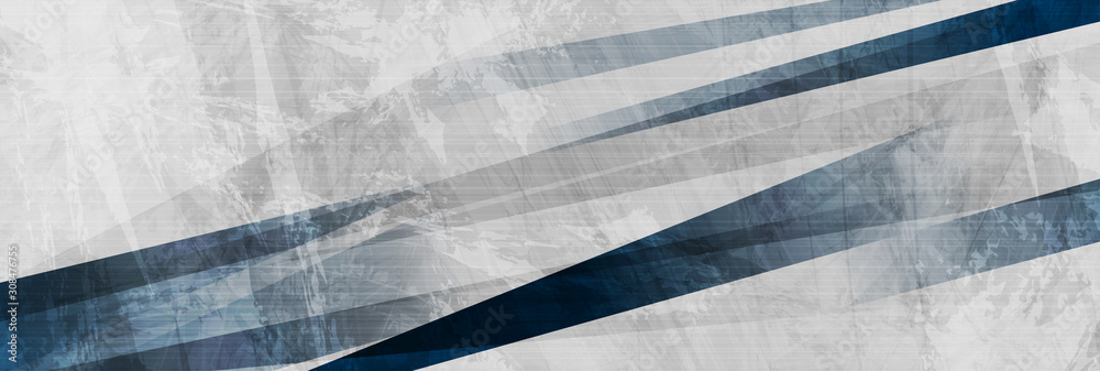 Fototapeta Dark blue grunge stripes abstract banner design. Geometric tech background. Vector illustration