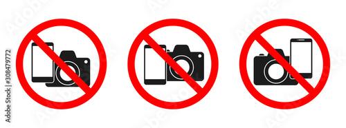 Photo Phone and camera forbidden vector sign.