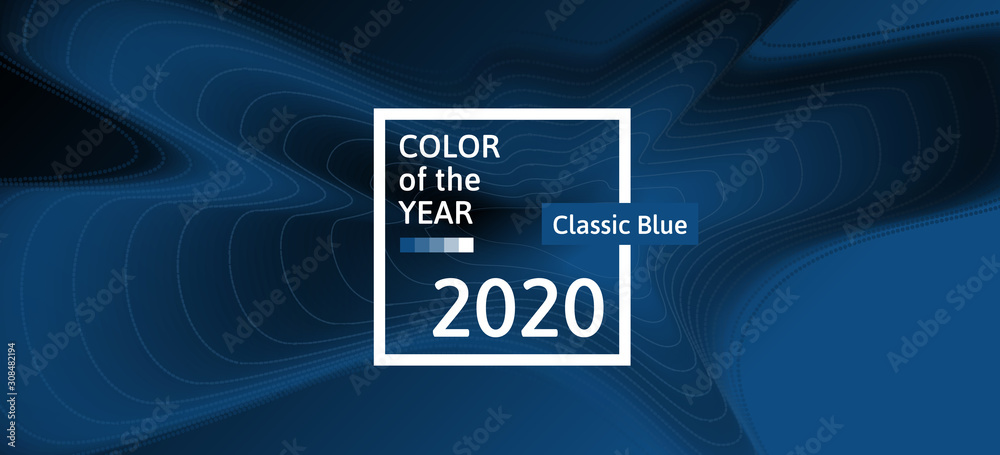Fototapeta Color of the year 2020 classic blue abstract horizontal banner creative trendy design