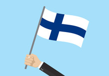 Finland Waving Flag. Hand Hold...
