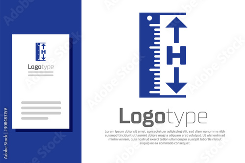 Blue The measuring height and length icon isolated on white background Canvas Print