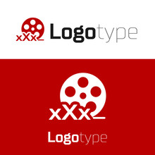 Red Film Reel With Inscription XXX Icon Isolated On White Background. Age Restriction Symbol. 18 Plus Content Sign. Adult Channel. Logo Design Template Element. Vector Illustration