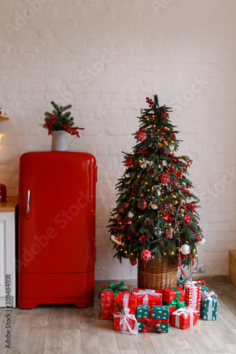 Photo Kitchen decorated for Christmas in red colour