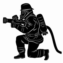 Illustration Of A Fireman, Vector Drawing