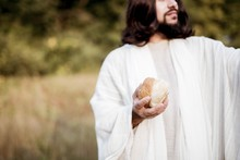 Jesus Christ Giving Out The Sliced Bread