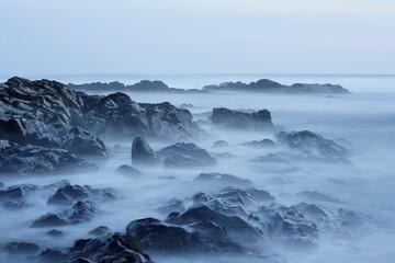 Rcky beach at dusk